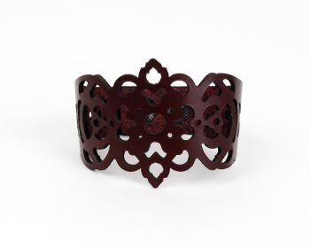 "Laser Cut Leather Bracelet ""Clover"" in Dark Purple, Dark chocolate and Dark Burgundy"
