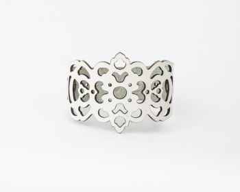 "Laser Cut Leather Bracelet ""Clover"" Design in White"