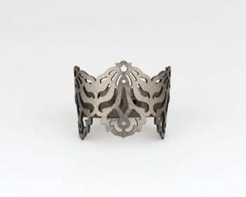 "Laser Cut Leather Bracelet- ""Falling Leaves"" in Brass, Pewter-Metallic beige or Pearl blue"