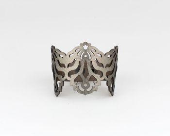 """Laser Cut Leather Bracelet- """"Falling Leaves"""" in Brass, Pewter-Metallic beige or Pearl blue"""