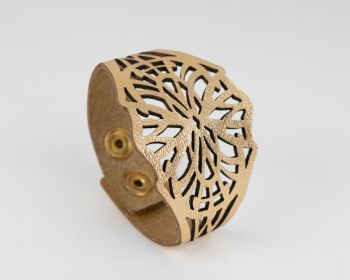 "Laser Cut Leather Cuff ""Isadora"" design in Metallic"