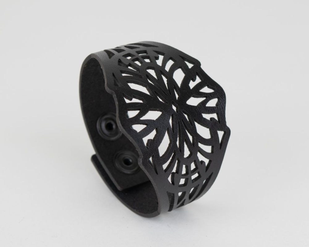 Black Leather Laser Cut Cuff
