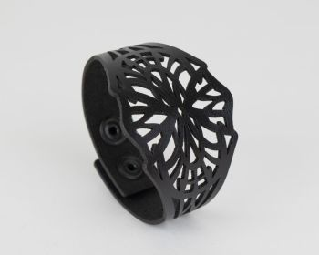 "Black Leather Laser Cut Cuff ""Isadora"" Design"