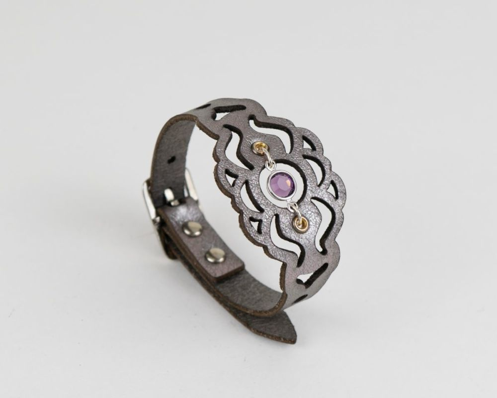 Leather Birthstone Bracelet with Swarovski Crystal in Silver