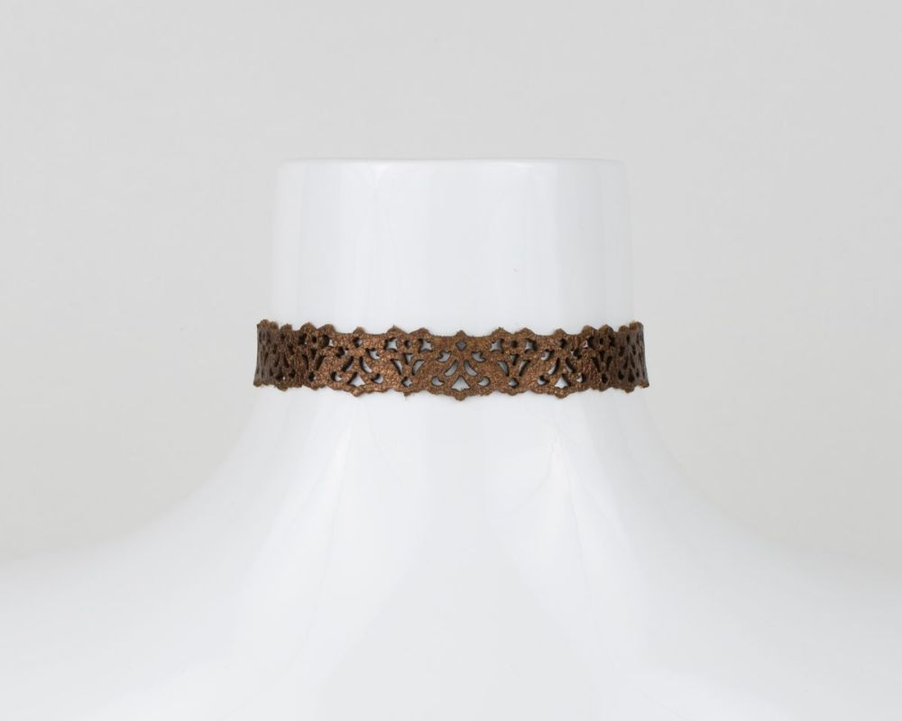 Leather Lace Choker in Metallic Colours