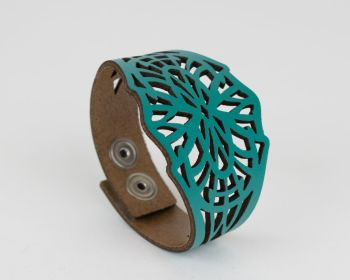 "Laser Cut Leather Cuff  ""Isadora"" design in Turquoise and Red"