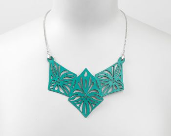 "Statement Laser Cut  Leather Necklace • ""Elsa"" Design"