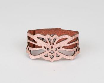 "Leather  Bracelet   ""Loie"" Design in metallic colours"