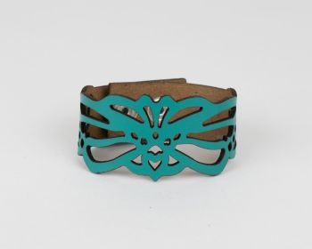 """Leather Bracelet """"Loie"""" Design in Red, Turquoise or Black"""
