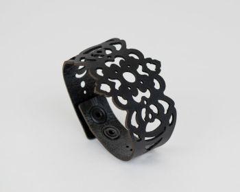 """Black Laser Cut Leather Bracelet """"Clover"""" Design"""