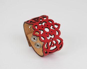 "Laser Cut Leather Bracelet ""Clover"" Design • Veg Tan Leather"