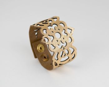 "Laser Cut Leather Bracelet ""Clover"" Design • Metallic Colours"