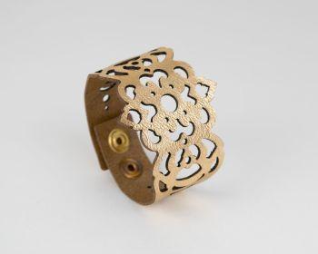 "Laser Cut Leather Bracelet ""Clover"" Design • Metallic Colours"