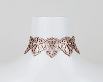 "Leather Laser Cut Choker Necklace ""Hearts"" Design in Metallic Colours"