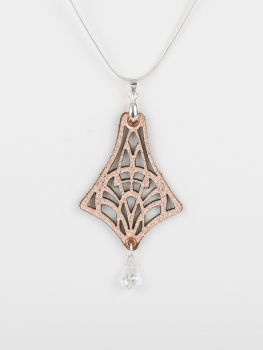 "Laser Cut Leather Pendant With Swarovski Crystal  in Metallic Colours • ""Isadora"" Design"