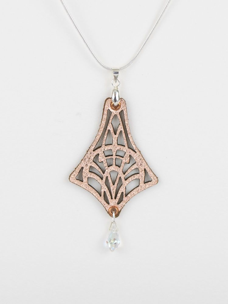 Laser Cut Leather Pendant With Swarovski Crystal  in Metallic Colours •