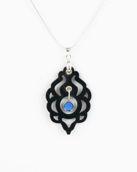 Black Leather Pendant With Swarovski Birthstone Crystal