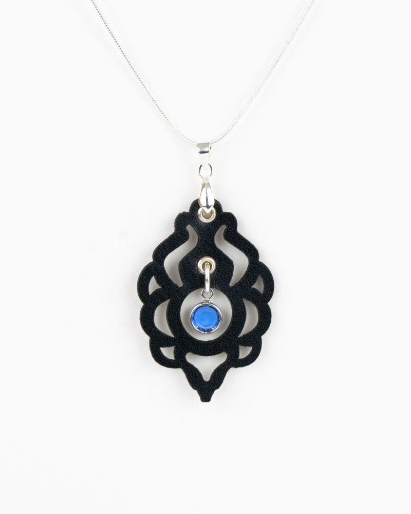 Black Leather Pendant With Swarovski Birthstone Crystal