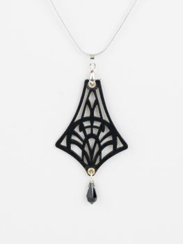 "Laser Cut Leather Pendant With Swarovski Crystal in Black, Red or Turquoise • ""Isadora"" Design"