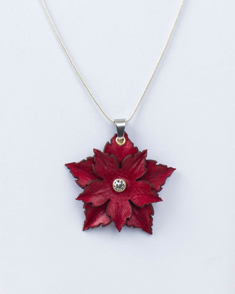 Leather Flower Pendant in Red or Purple