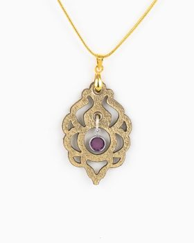 Gold Leather Pendant With Swarovski Birthstone Crystal