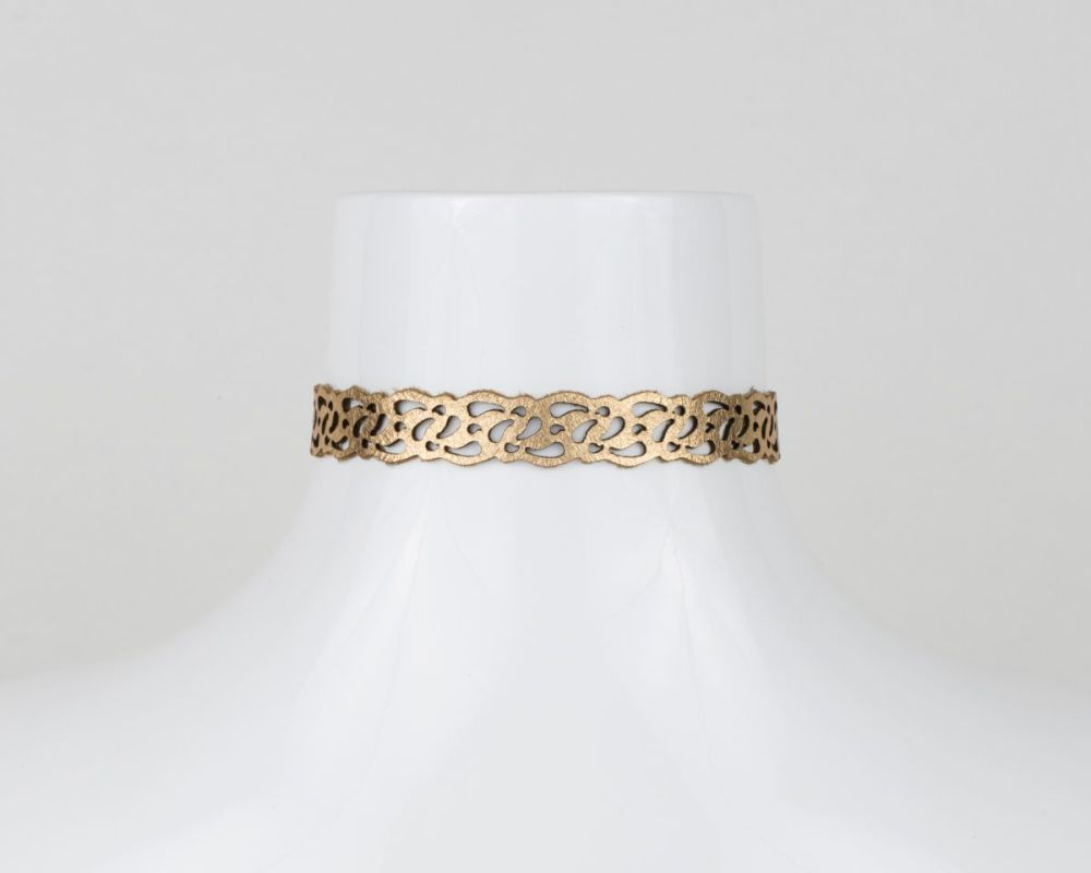 Reversible Laser Cut Leather Choker Necklace,