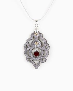Silver Leather Pendant With Swarovski Birthstone Crystal