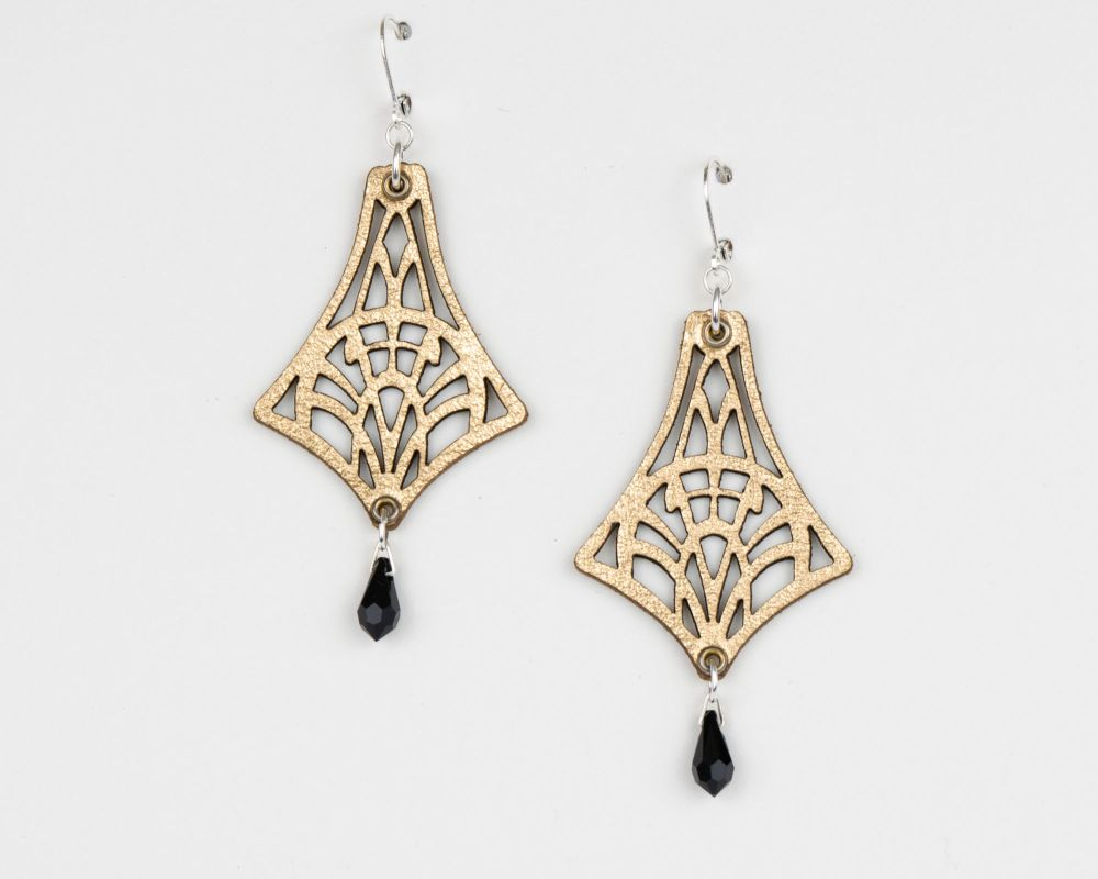 Leather Earrings With Swarovski Crystal in Metallic Colours