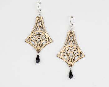 """Leather Earrings With Swarovski Crystal in Metallic Colours """"Isadora"""" Design"""