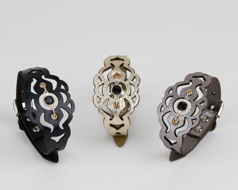 Laser Cut Leather Bracelet with Black Swarovski Crystal