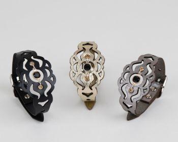 Laser Cut Leather Bracelet with Black Crystal