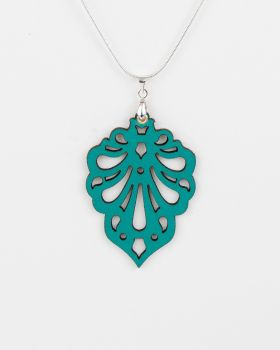 "Laser Cut Leather Pendant ""Teardrops"" Design"