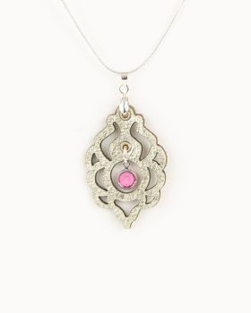 Platinum Gold Leather Pendant With Swarovski Birthstone Crystal