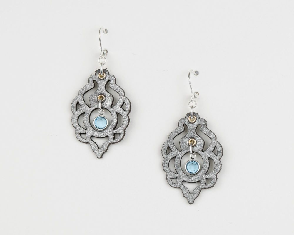 Laser Cut Leather Earrings With Swarovski Birthstone Crystal in Metallic Co