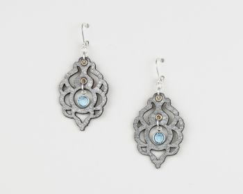 Laser Cut Leather Earrings With Glass Birthstone Crystal in Metallic Colours