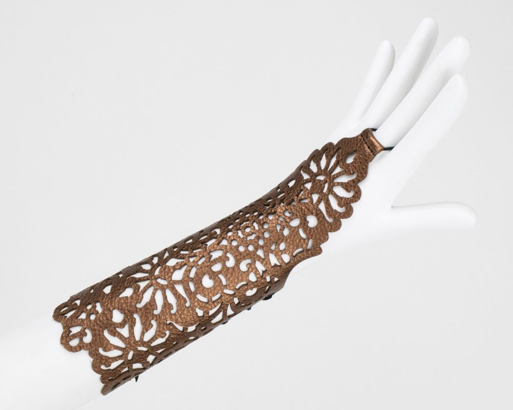 Metallic Leather Gauntlet, Laser Cut Fingerless Glove