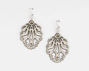 "Laser Cut Leather Earrings ""Falling Leaves"" Design"