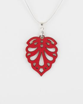 "Leather Laser Cut Pendant ""Hearts"" Design"