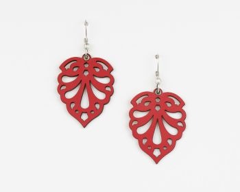 "Laser Cut Leather Earrings ""Hearts"" Design in Red, Turquoise and Black"
