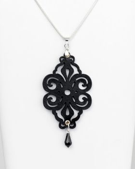 "Black  Leather Pendant ""Spirals"" Design with Glass Crystal Bead"