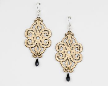 """Metallic Leather Earrings With Glass Crystal """"Spirals"""" Design"""