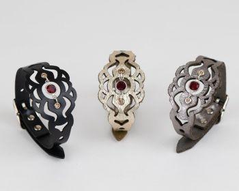 July Leather Birthstone Bracelet with Glass Crystal