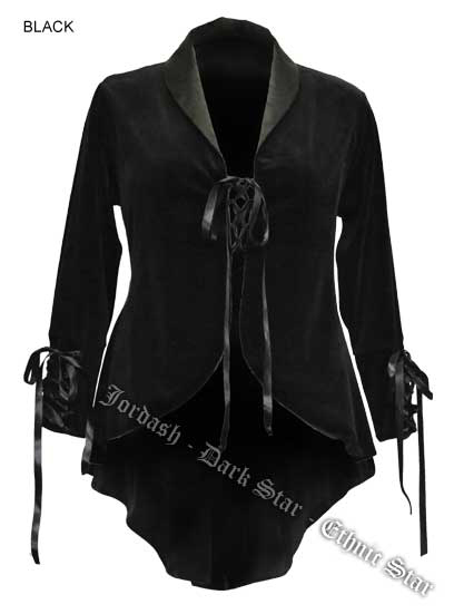 Dark Star by Jordash Velour swallow tailed style jacket DS/JK/7049 Black L/