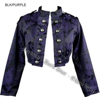 Dark Star by Jordash soft brocade Military style cropped jacket DS/JK/7545 Black/purple