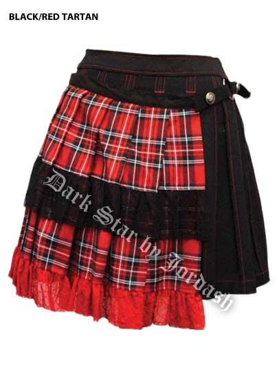 Dark Star by Jordash Goth Tarten Mini pleated skirt DS/SK/51142