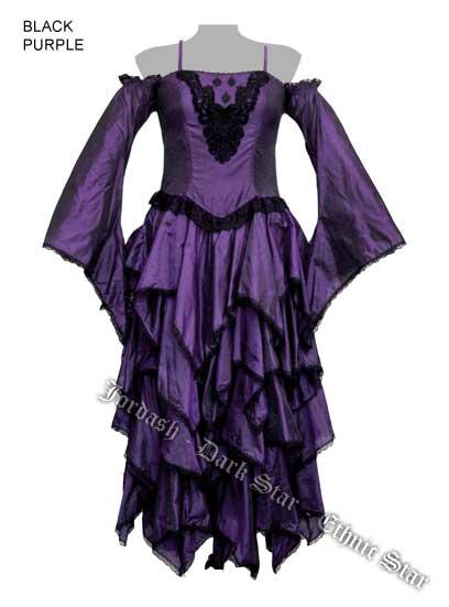 Dark Star by Jordash open shoulder dress DS/DR/7276 Black/purple Free Size