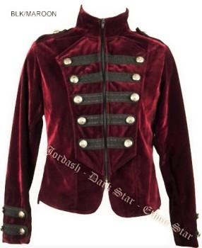 Dark Star by Jordash Military Style velveteen Jacket/tailcoat DS/JK/7652 Maroon M/L