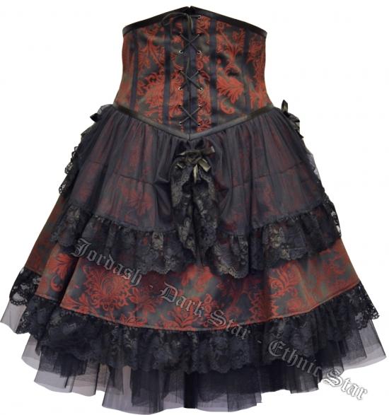 Dark Star by Jordash under bust dress DS/DR/7585 Black/Red Free size
