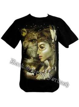 T-Shirt Featuring Indian Lady With Eagles M