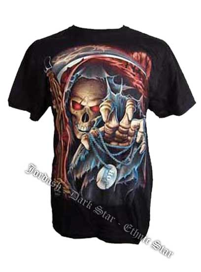 T-Shirt With Glow In The Dark Grim Reaper Image M